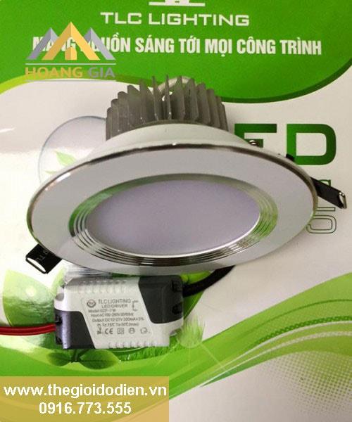 đèn led âm trần 5w 3 màu viền trắng nhôm bạc