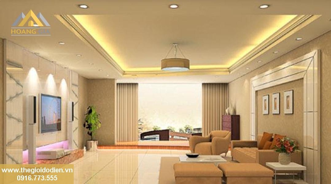 Đèn led downlight âm trần 3 màu sử dụng tông màu trung tính dành cho phòng khách