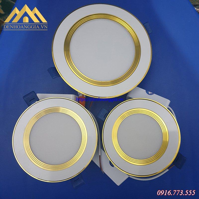 Bộ sản phẩm đèn led âm trần đế dày viền vàng 5w, 7w và 9w