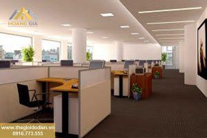 Văn phòng công ty lắp đèn downlight siêu mỏng hình vuông