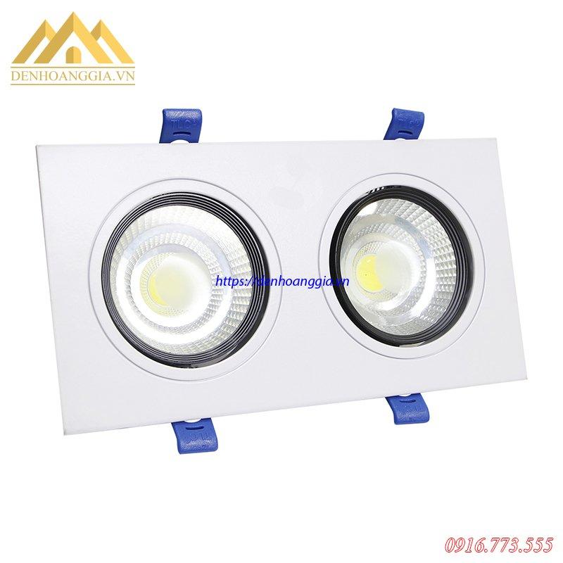 đèn led âm trần đôi 3 màu 14w với mỗi bóng đèn có công suất là 7w