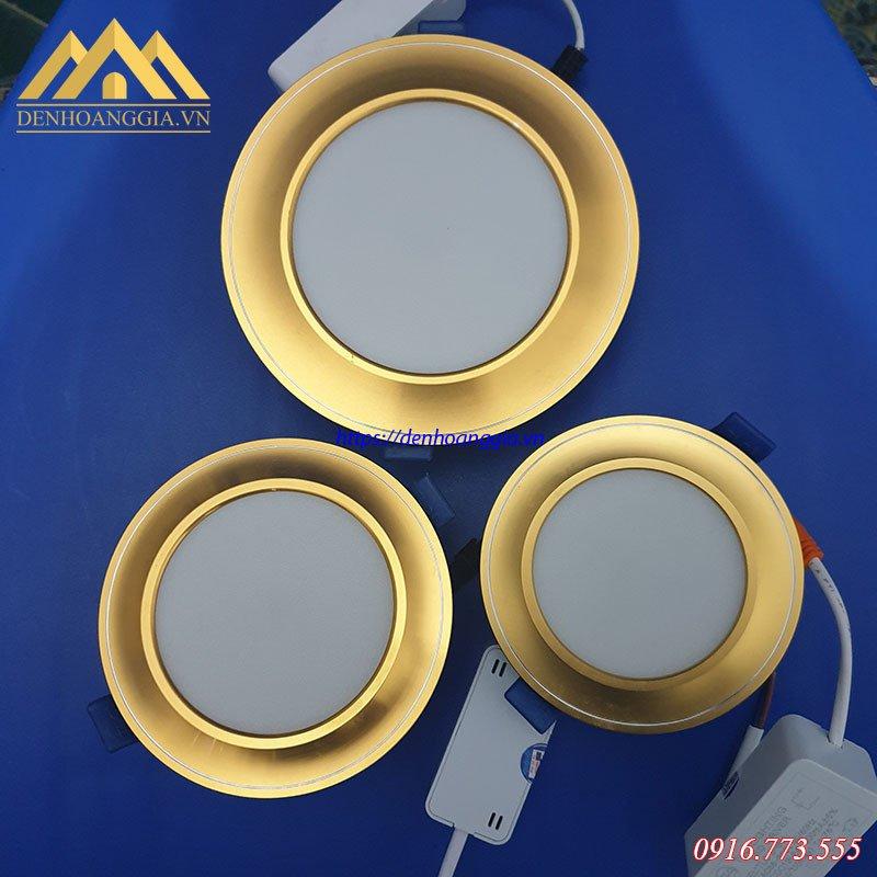 Bộ sản phẩm đèn led âm trần mặt cong viền vàng