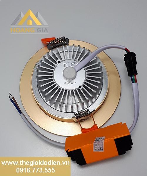 Đèn LED âm trần mặt cong 3 màu viền vàng 5w TLC