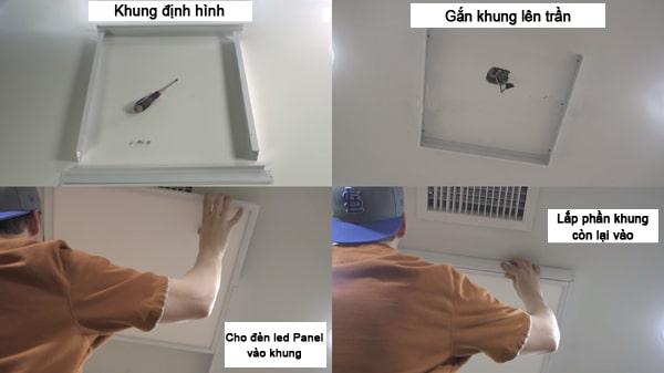 Cách lắp đèn led Panel ốp trần dùng khung định hình