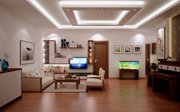 Bố trí đèn led âm trần trên trần nhà