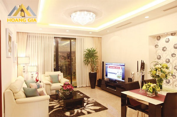đèn trần phòng khách chung cư hiện đại