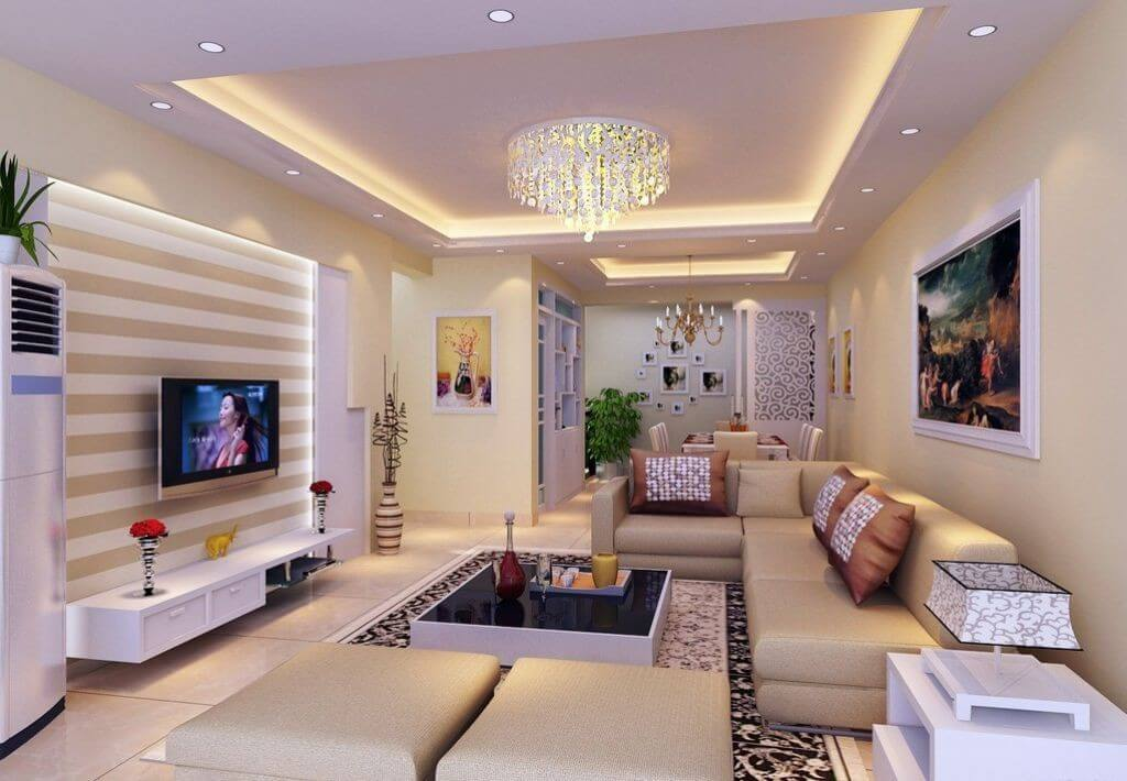 bố trí đèn led ốp trần trang trí phòng khách