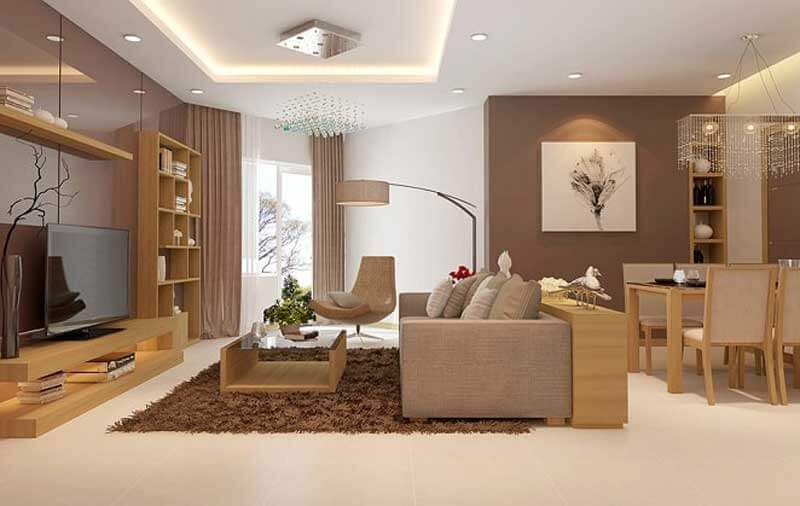 Phòng khách sử dụng đèn led âm trần tán quang