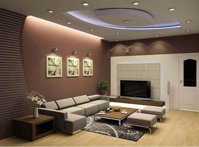 Đèn chiếu điểm và đèn led ốp trần trong phòng khách