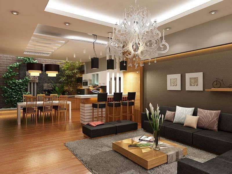 Kết hợp đèn hắt khe với đèn ốp trần thạch cao trong phòng khách
