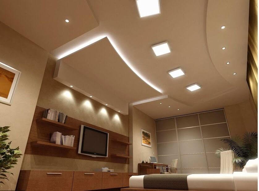 Không gian phòng khách kết hợp đèn led downlight với đèn led Panel 300x300