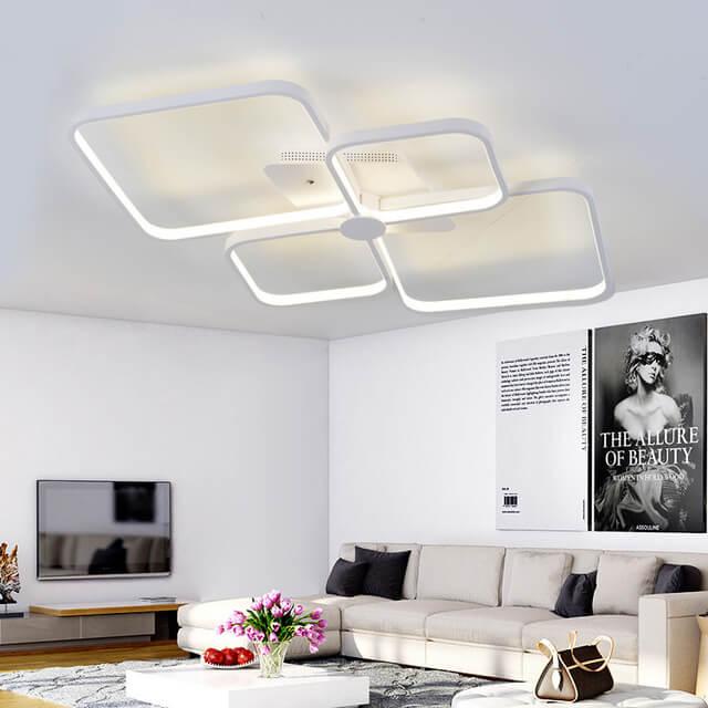 Phòng khách hiện đại với đèn mâm áp trần