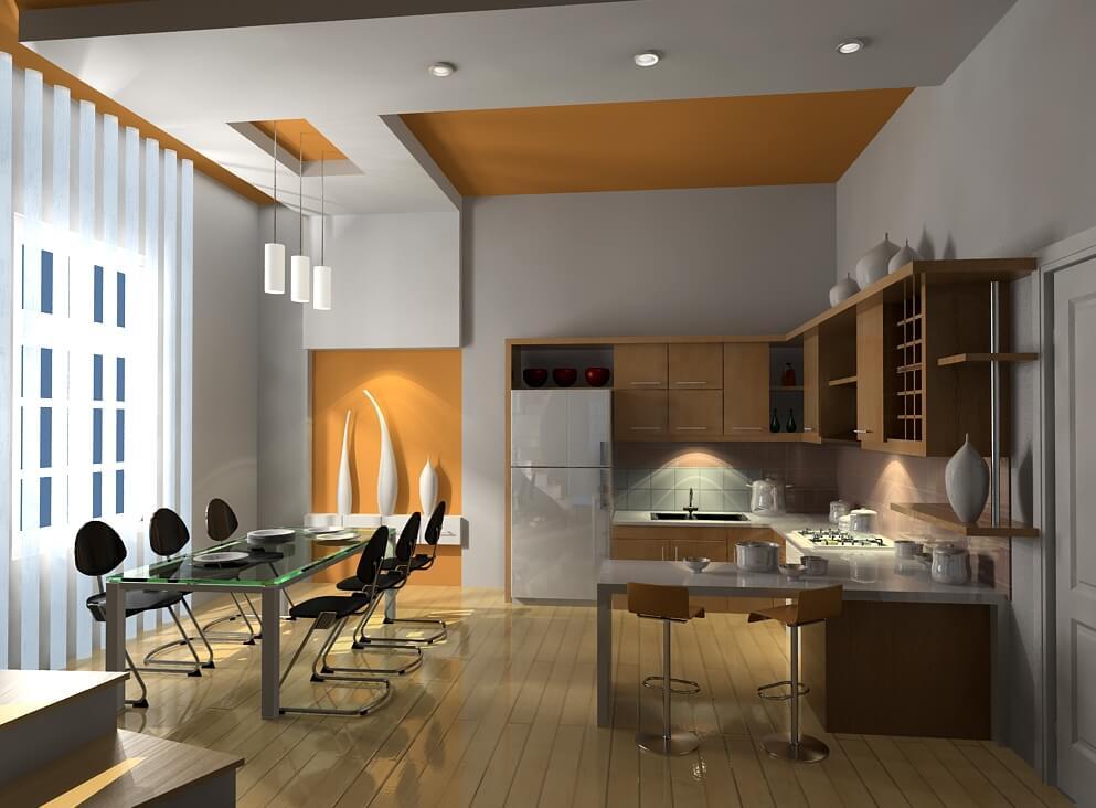Đèn ốp trần phòng ăn hiện đại