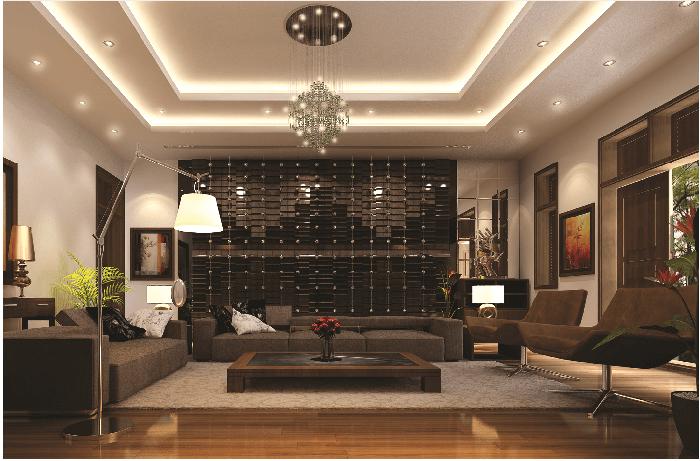 đèn led âm trần phòng khách theo phong thủy