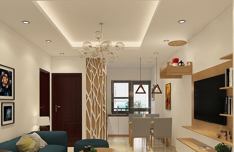 Đèn led ốp trần phòng khách hình tròn hiện đại