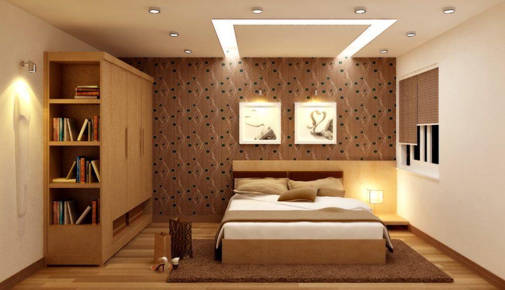 đèn led ốp trần trong phòng ngủ