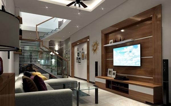 Bố trí đèn led âm trần phòng khách tại vị trí lắp TV