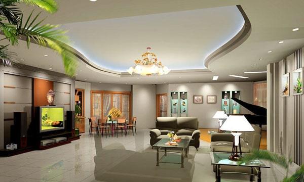 Cách bố trí đèn trần thạch cao phòng khách