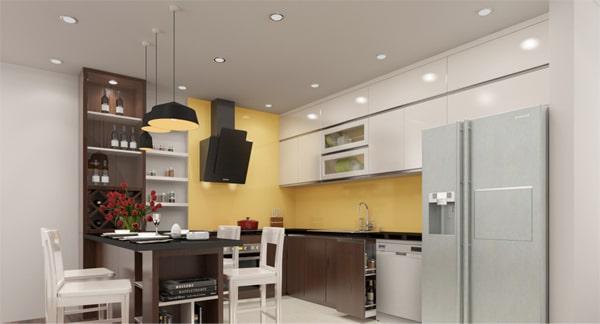 Đèn downlight d90 bố trí tại phòng bếp theo dạng mạng lưới