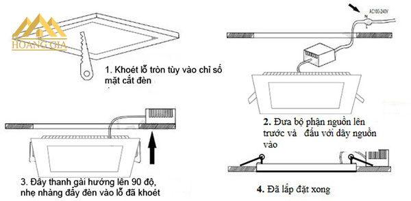 Cách lắp đặt đèn led âm trần vuông