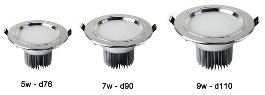 Công suất đèn led âm trần phổ biến nhất