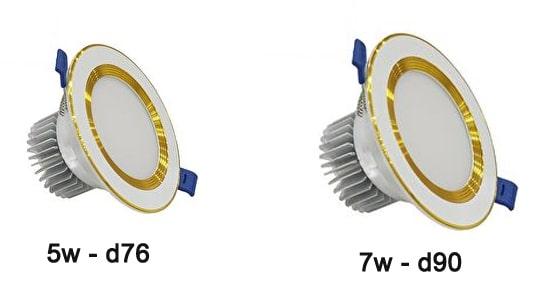 đèn downlight kích thước d76 và d90