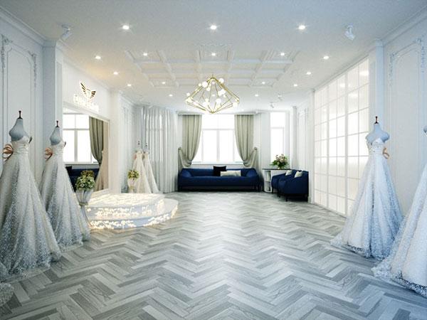 Sử dụng đèn led âm trần 5w cho showroom áo cưới