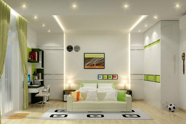 Sử dụng đèn led âm trần 3 màu cho phòng ngủ giúp bạn dễ dàng thay đổi màu ánh sáng khi cần thiết