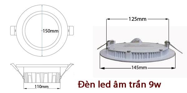 Kích thước đèn led âm trần 9w