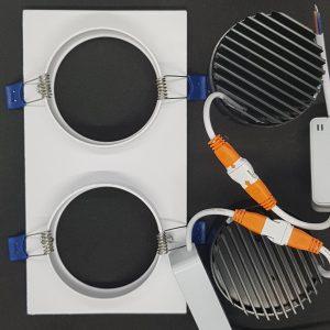 Tản nhiệt đèn led âm trần 2 bóng dạng nhôm xẻ rãnh