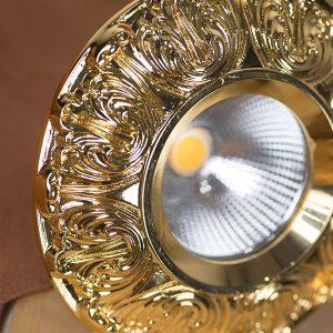 Đèn led âm trần cổ điển hoa văn mặt mạ vàng 18K TLC Thiên Lộc