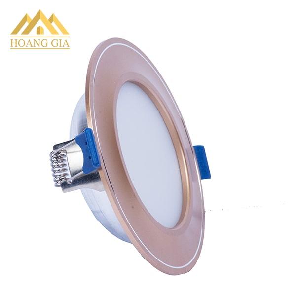 Hình ảnh đèn led âm trần mặt cong đế mỏng viền vàng 10w ba màu