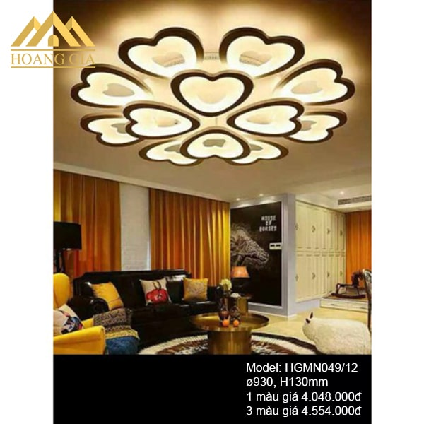 Đèn mâm LED Mica hiện đại 12 cánh 1 màu, 3 màu HGMN049/1