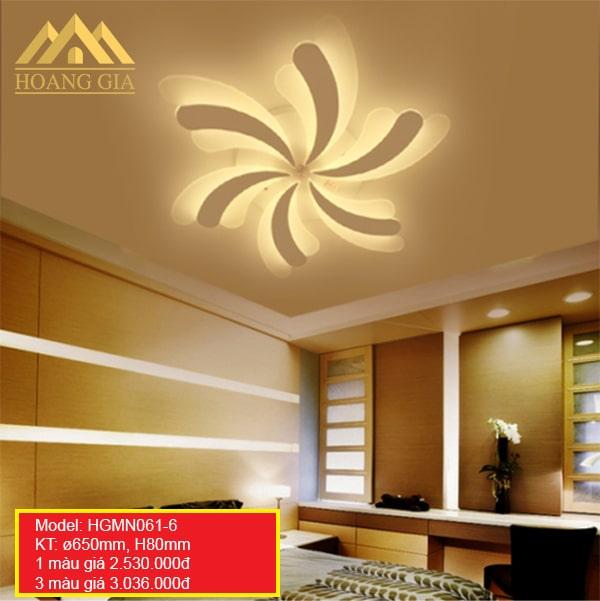 Đèn mâm LED Mica hiện đại 6 cánh 1 màu, 3 màu HGMN061/6
