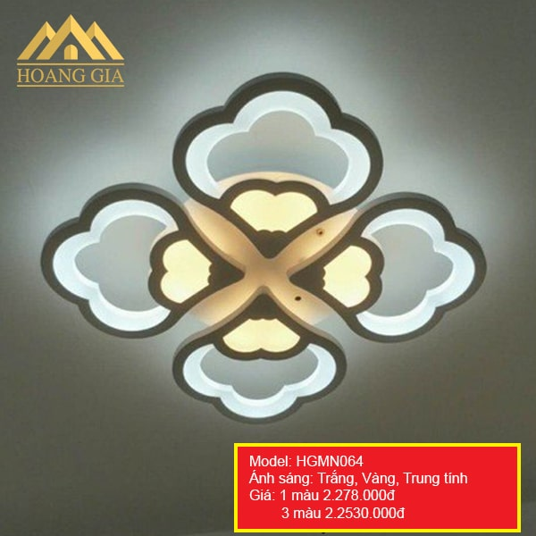 Đèn mâm LED Mica hiện đại 4 cánh 1 màu, 3 màu HGMN064