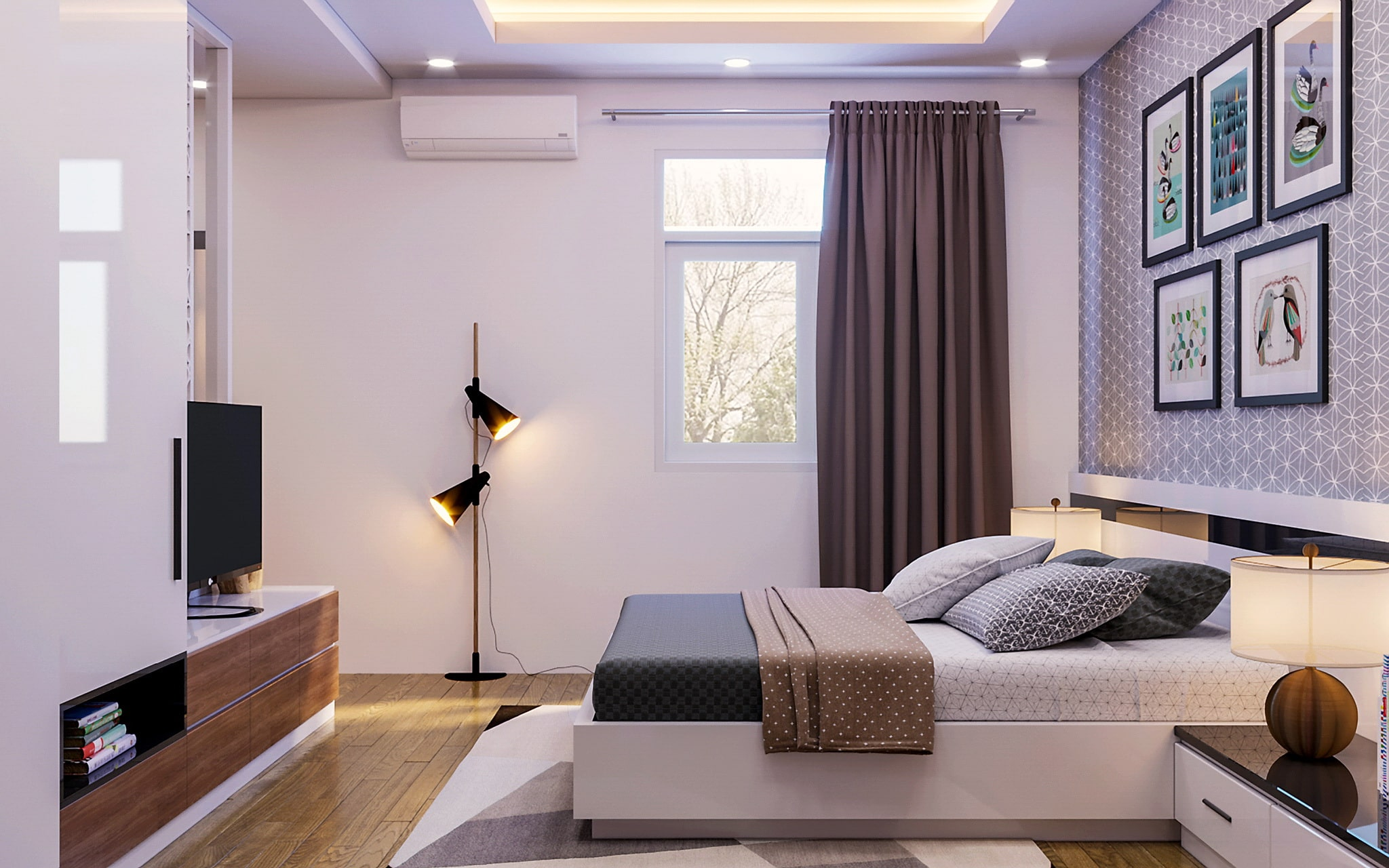sử dụng đèn led âm trần tán quang cho phòng ngủ
