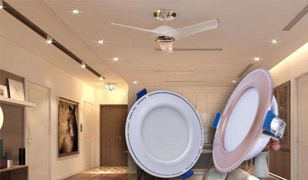 Bố trí ánh sáng phong thủy phòng khách với đèn led âm trần