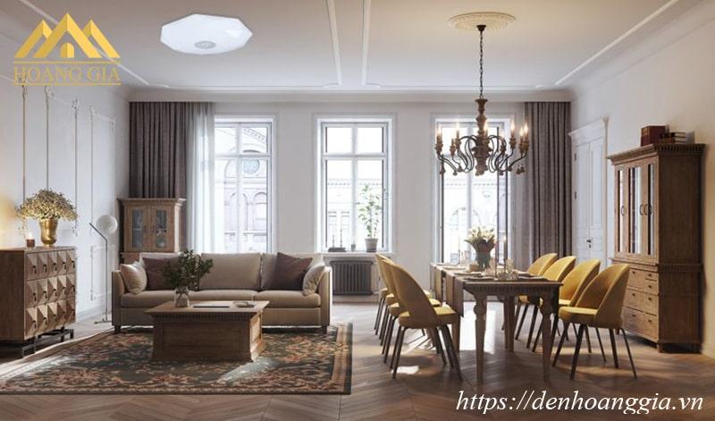 Đèn LED ốp trần Galaxy Plus cho căn hộ có phòng khách cạnh bàn ăn - bếp