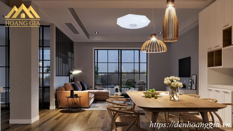 Ứng dụng đèn LED ốp trần Galaxy Plus cho căn hộ có phòng khách cạnh bàn ăn - bếp