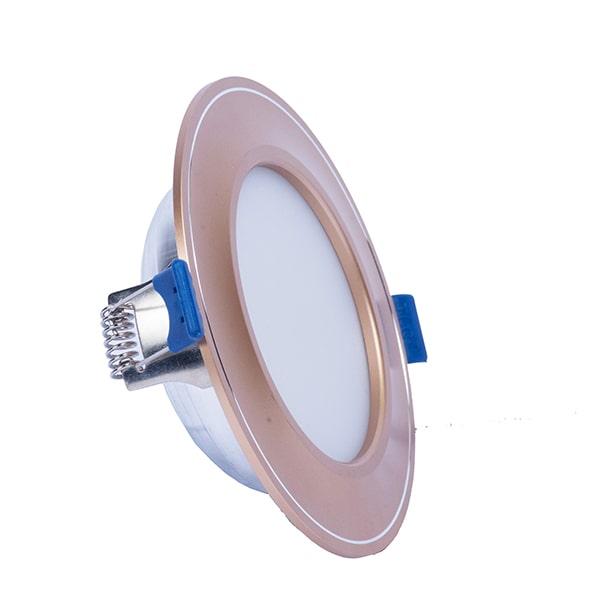 Giá đèn led âm trần mặt cong đế mỏng viền vàng TLC