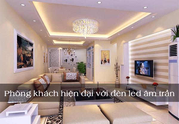 Phòng khách sang trọng hiện đại với đèn led âm trần