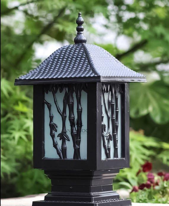 Đèn trụ cổng chạm khắc hình cây tre rất tinh tế