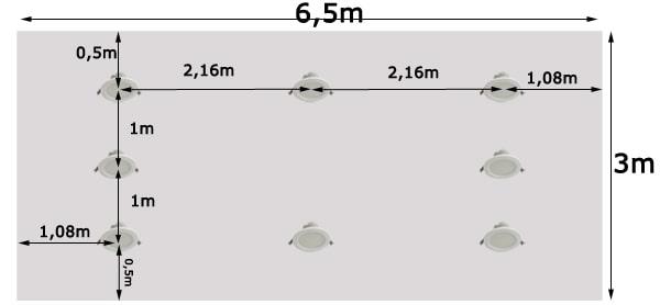 Khoảng cách bố trí đèn led âm trần cho phòng 20m2, dùng bóng công suất 97w