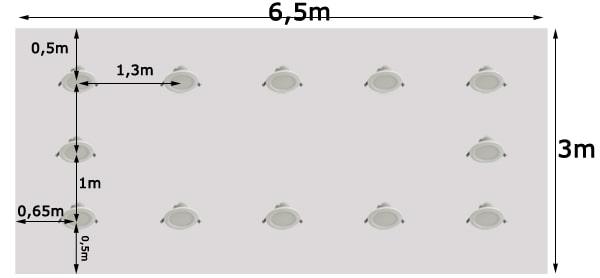 Khoảng cách bố trí đèn led âm trần cho phòng 20m2, dùng bóng công suất 7w