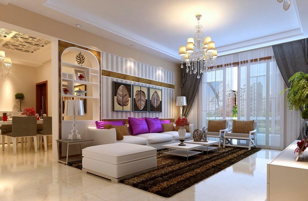 Phòng khách chung cư sang trọng với đèn chùm
