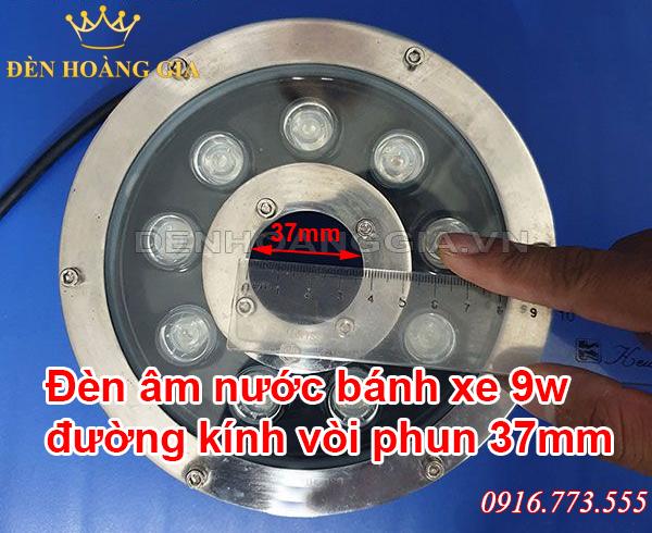 Đèn led âm nước bánh xe 9w đường kính vòi phun 37mm