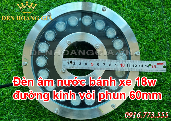 Đèn led âm nước bánh xe đường kính vòi phun 60mm