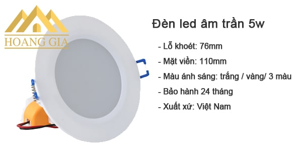 Đèn led âm trần 5w