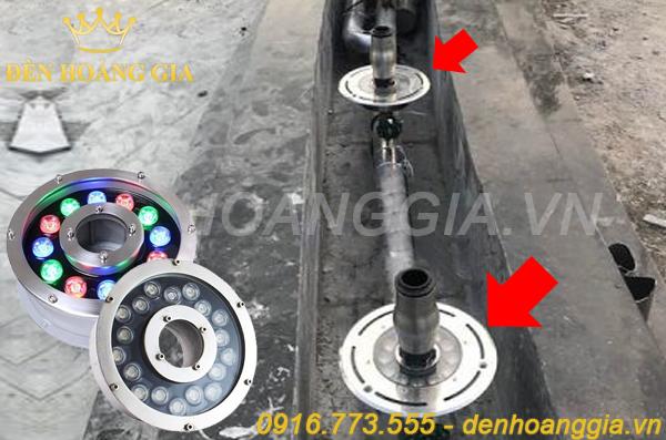 Cách lắp đèn led âm nước bánh xe với vòi phun nước