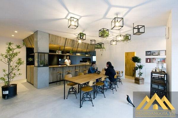 Phong cách bố trí đèn thả trần quán cafe hiện đại